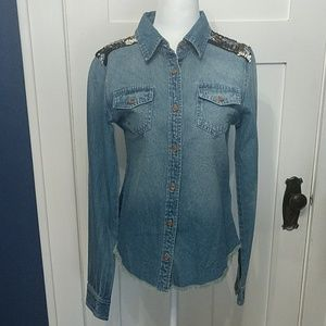 Miss Me Embellished Beaded Chambray Shirt